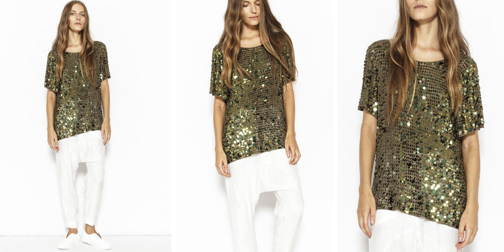 Sabatini Sequin Crochet T-Shirt