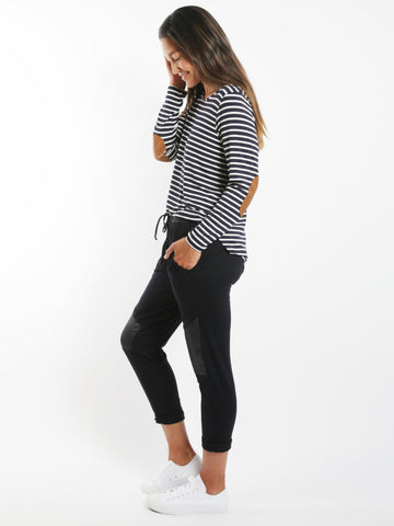 Nautical Striped Top with Leather