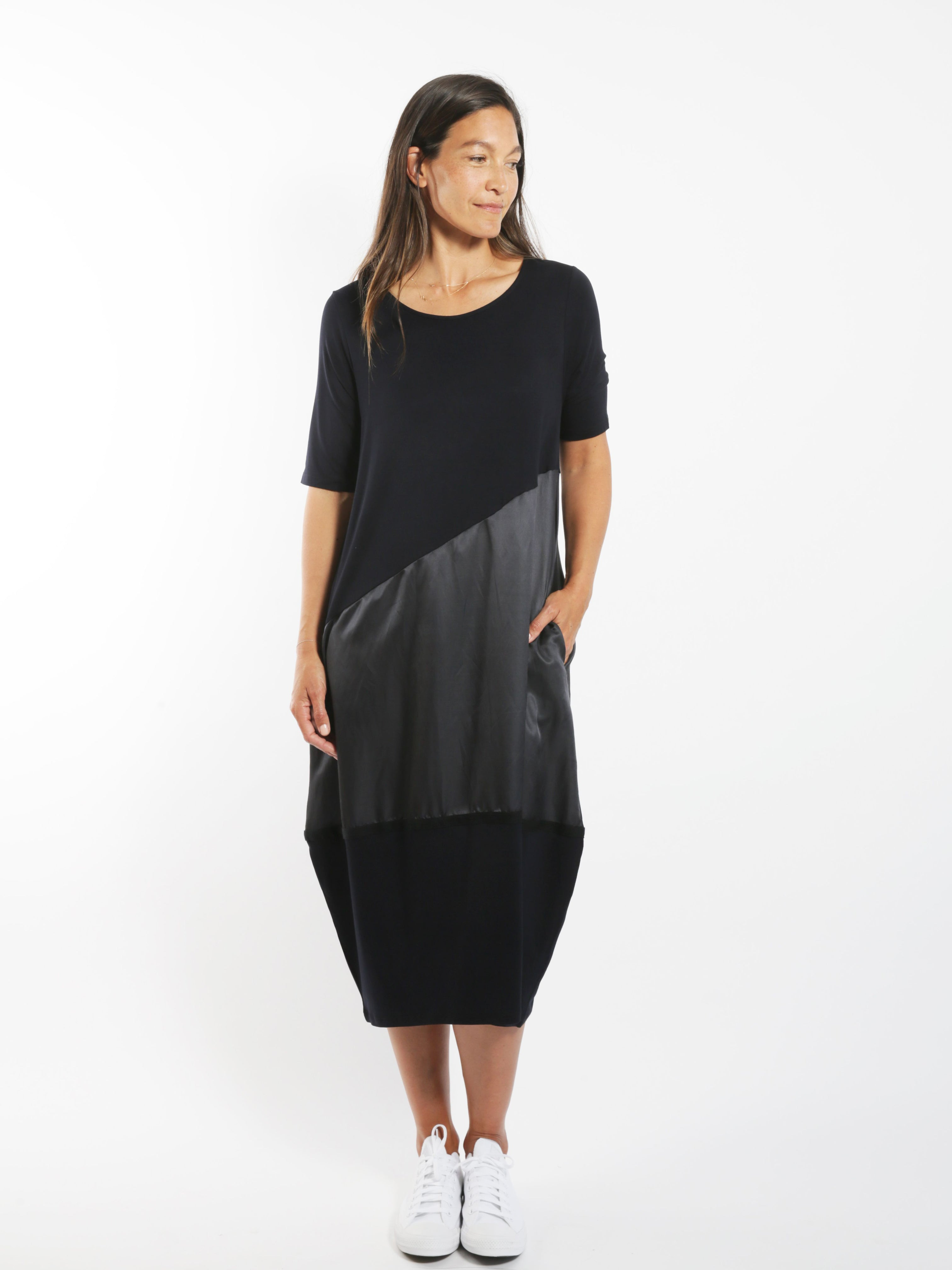Sheen Panelled Cocoon Dress
