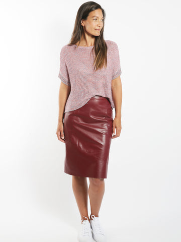 Berry Metallic Open Knit Top