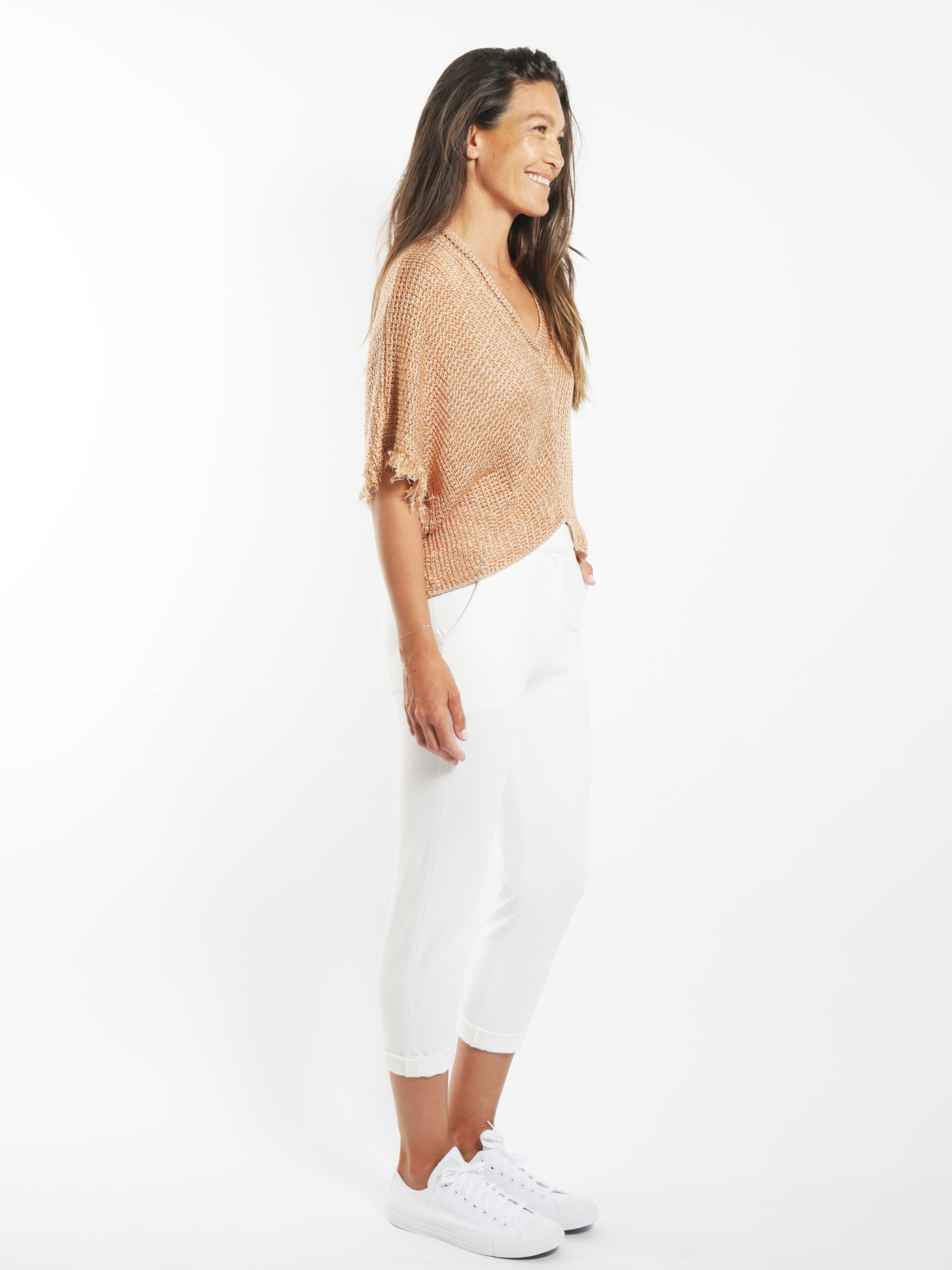 Rose Gold Open Knit Top