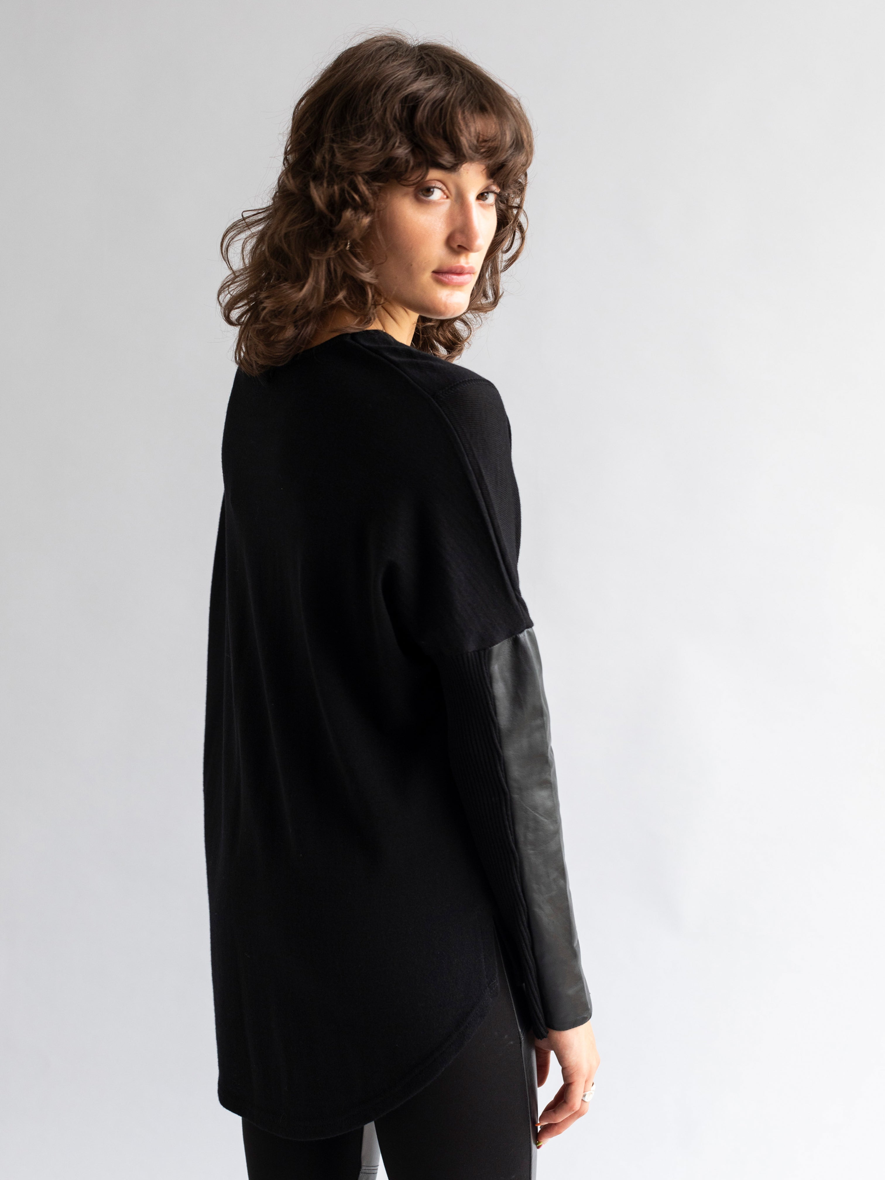Knit Jumper with Leather Insert Sleeves
