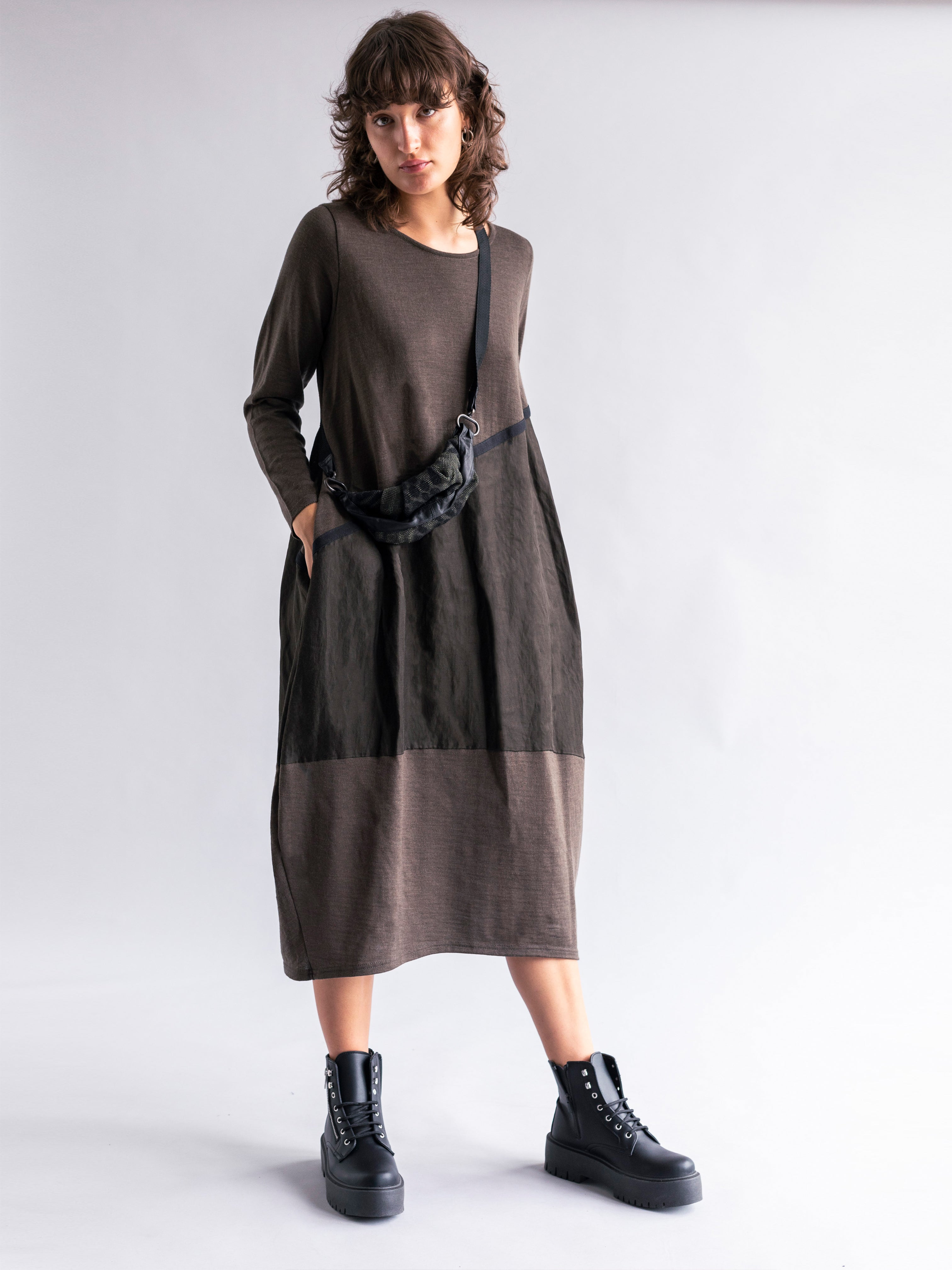 Cocoon Knit Dress with Sheen Panelling