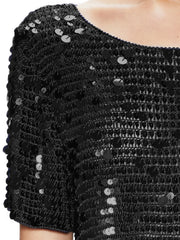 Crochet Knit Sequin Top
