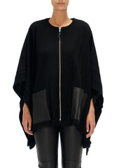 Zip Front Poncho with Sherling Trim Leather Pockets