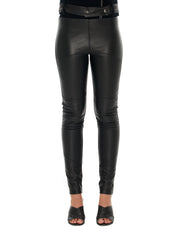 Leather Front Paneled Pant