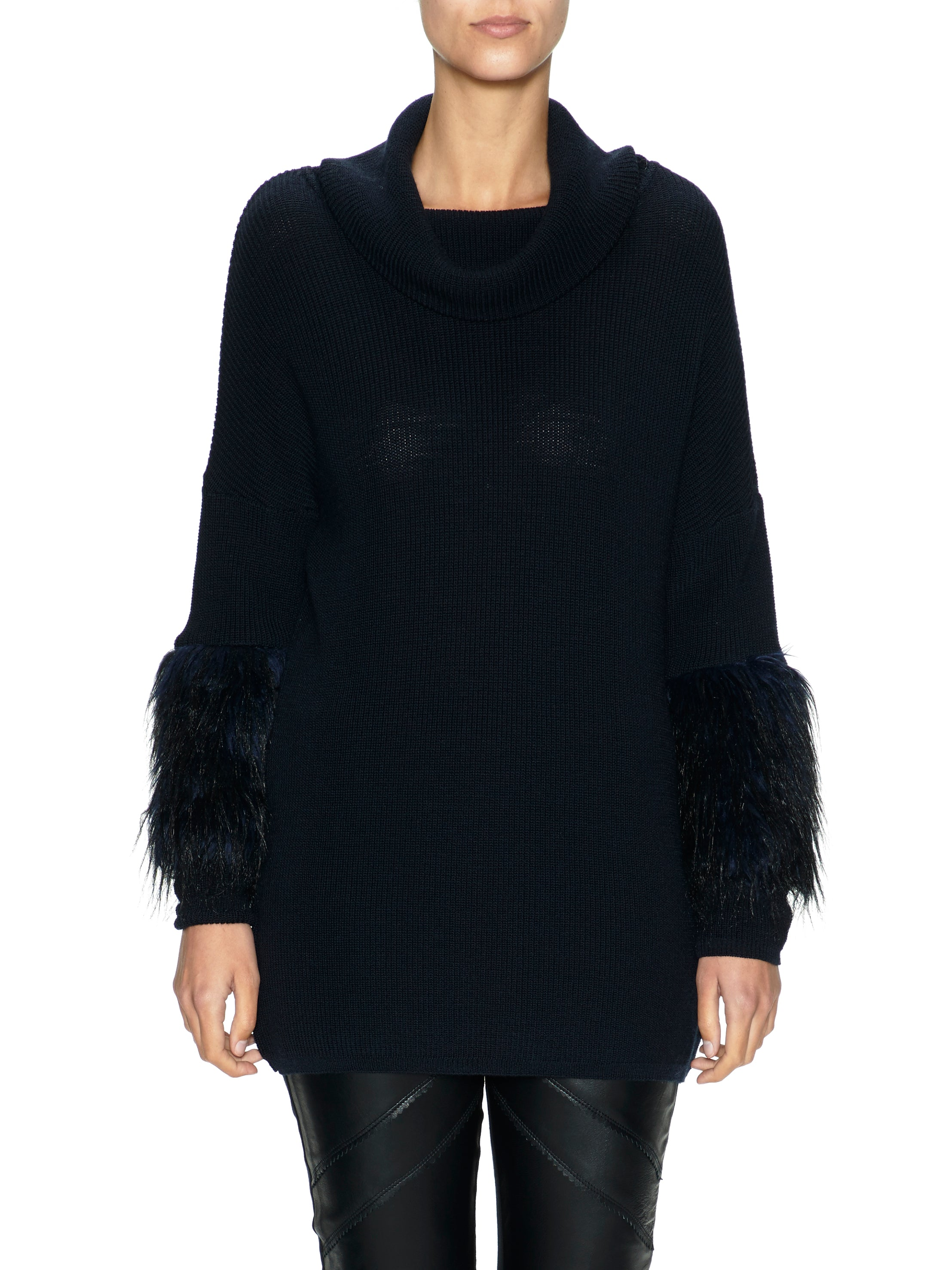 Knit Jumper with Faux Fur Sleeves (New Colourway)
