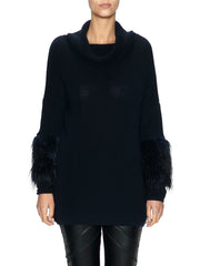 Knit Jumper with Faux Fur Sleeves