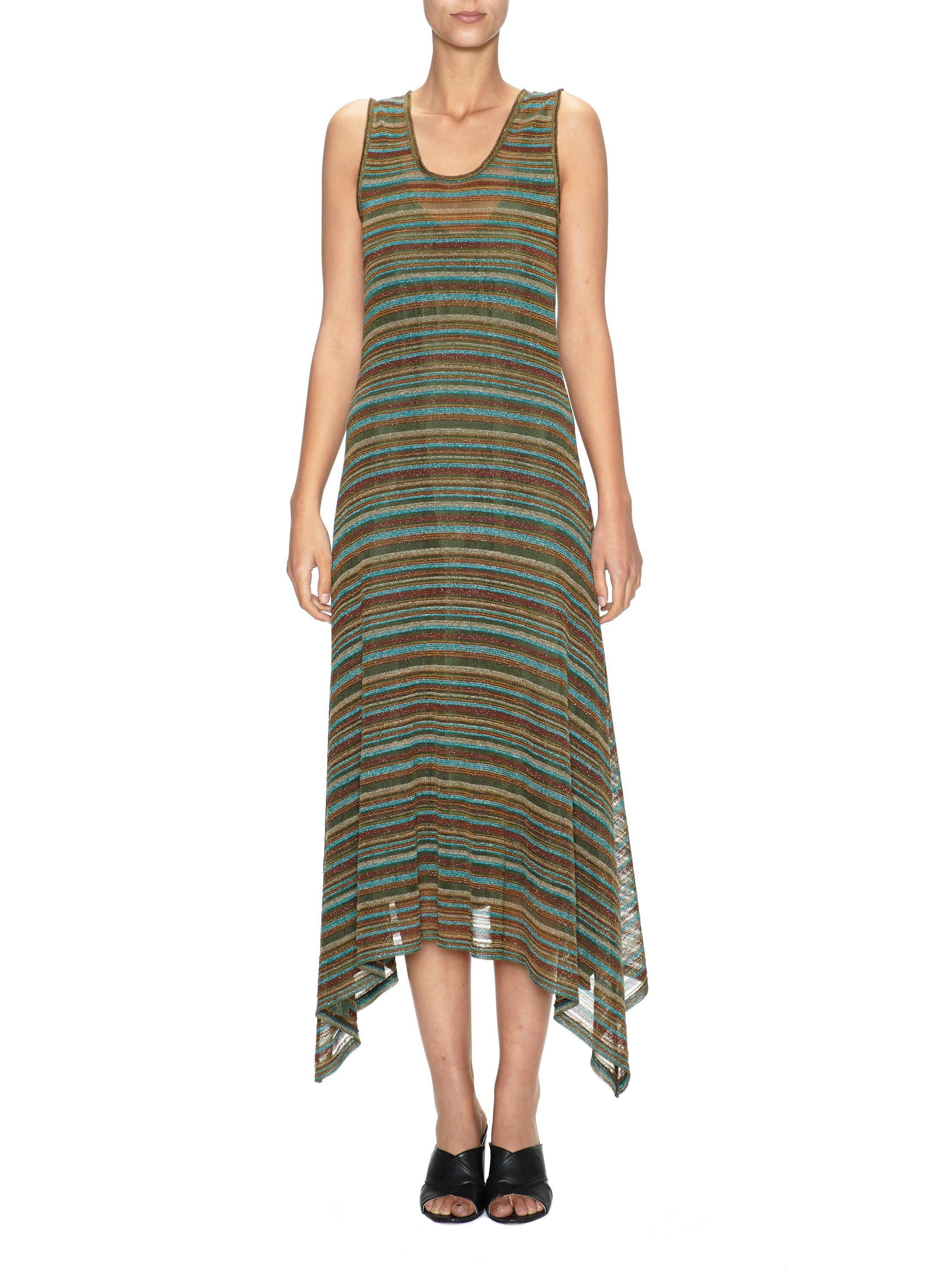 Striped Long A-Line Dress
