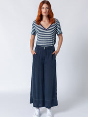 Contrast Stitch Flared Pants
