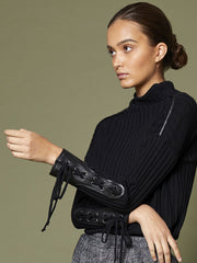 Eyelet Leather Trim Jumper
