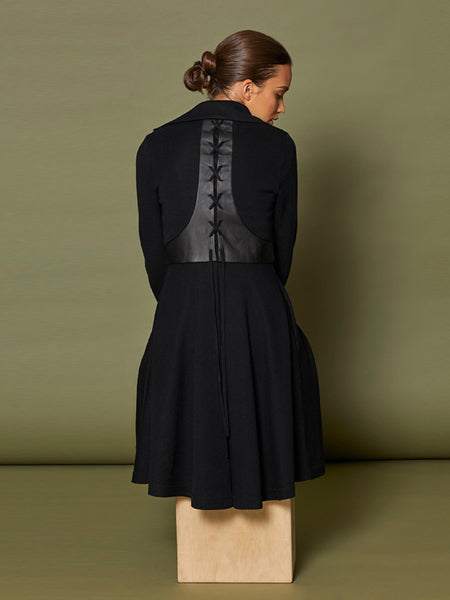 "Knit Coat with Leather ""T"" Lace Up Back Detail"
