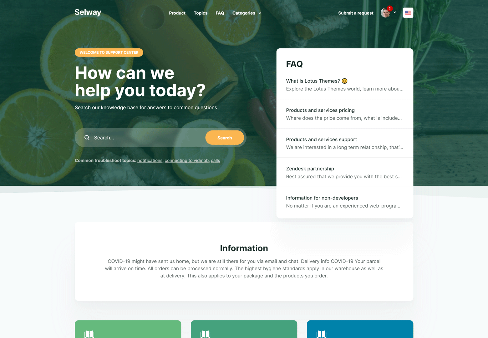 Selway theme main page
