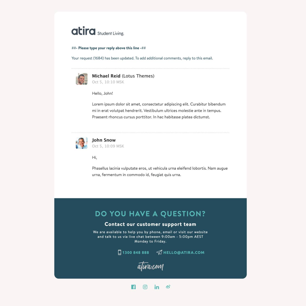 Customized Zendesk Email Template for Atira