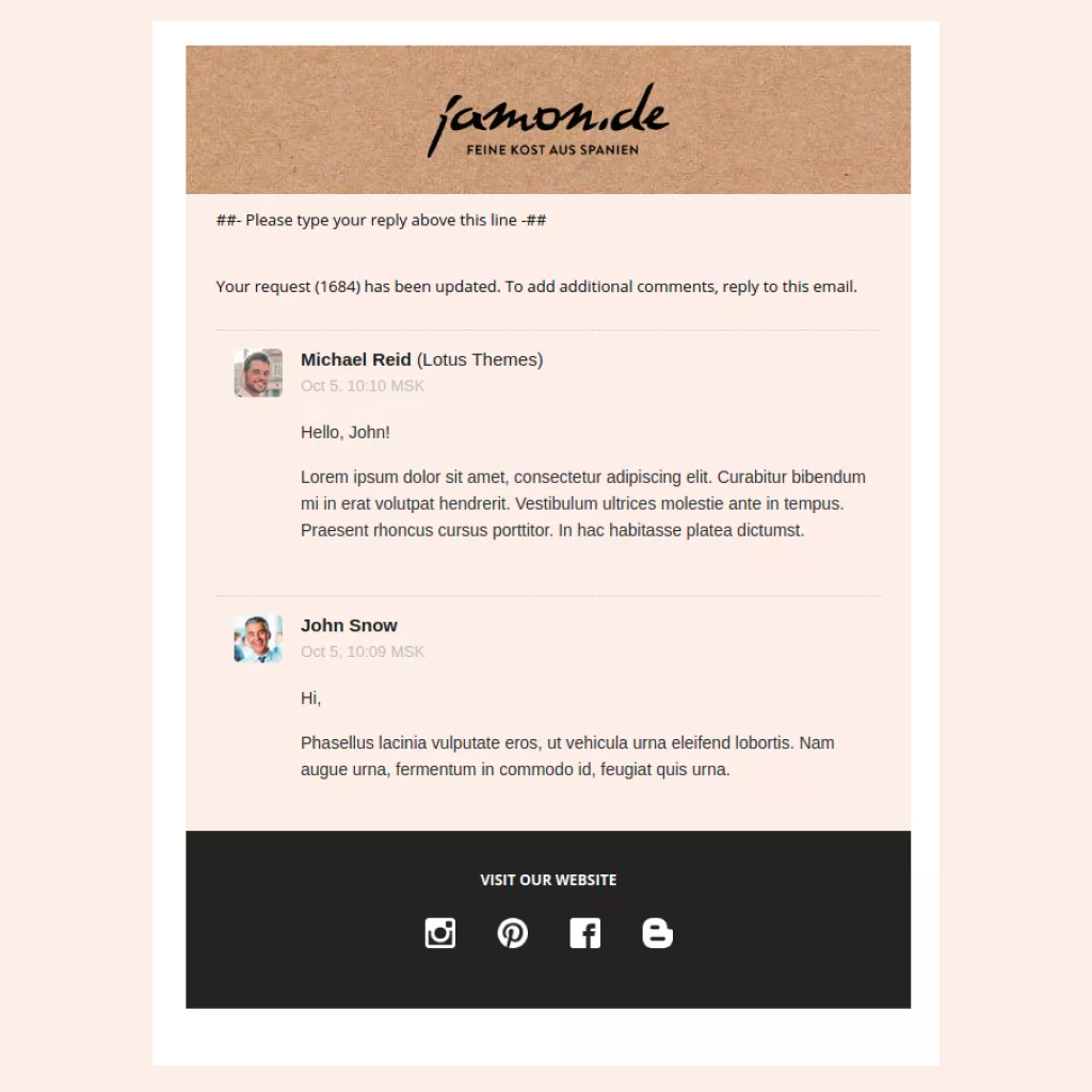 Customized Zendesk Email Template for Jarmon