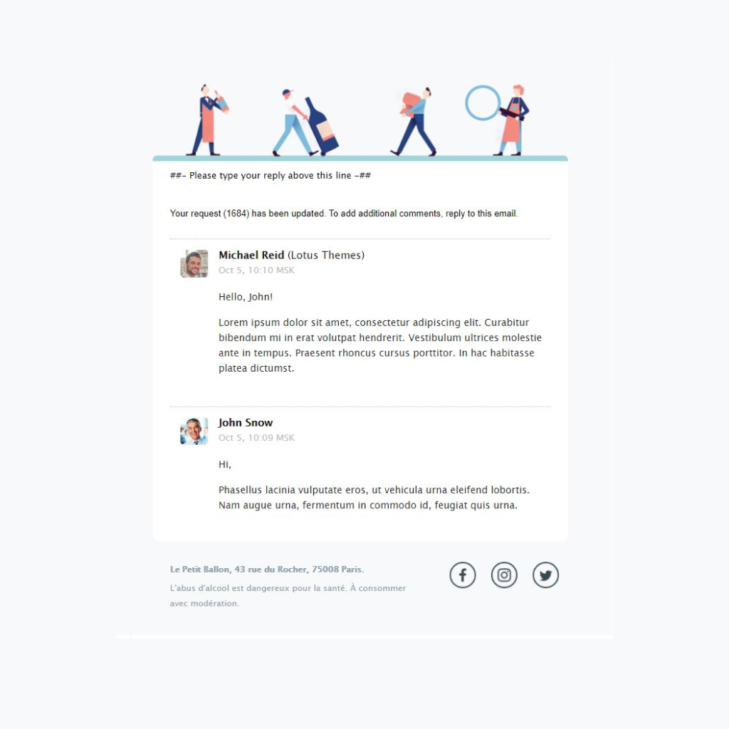 Customized Zendesk Email Template for Le Petit Ballon