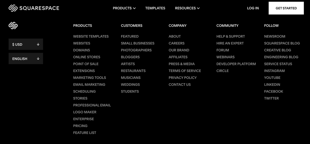 Squarespace website's footer. Source: squarespace.com