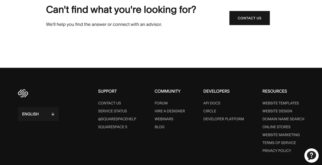 Squarespace help center's footer. Source: support.squarespace.com