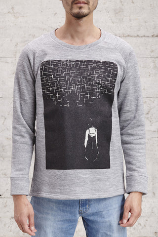 nwm 15.1 the wanderer, crew neck sweater with a double layered silkscreen, made from 100% brushed cotton