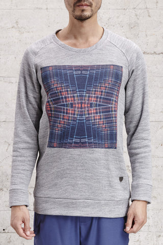 ssfw151, crew neck sweater with digital printed tartan made from 100% brushed cotton