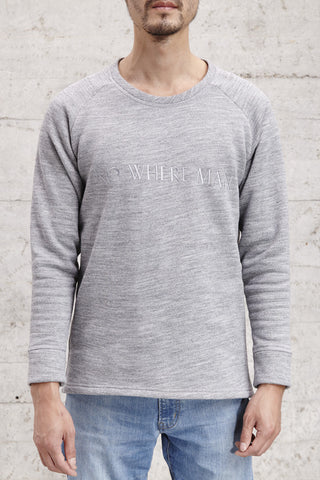 "nwm 15.1 no where man, crew neck sweater with ton sur ton ""no where man"" embroidered, made from 100% brushed cotton"