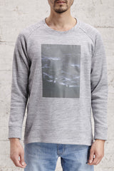 nwm 15.1 stilled, crew neck sweater with a rooftop tree photo print, made from 100% brushed cotton