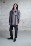 hooded oversized parka with detachable inner jacket