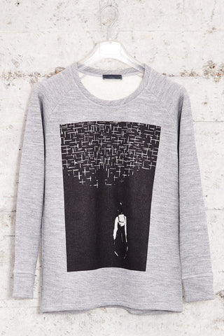 nwm 15.1 the wanderer, crew neck sweater with a double layered silkscreen on the chest, made from 100% brushed cotton