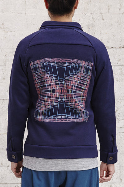 ssfw152 d, jacket with a digital printed tartan on the back made from 100% brushed cotton