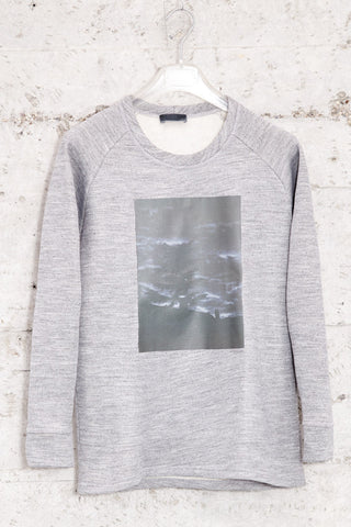 nwm 15.1 stilled, crew neck sweater with a rooftop tree photo print on the chest, made from 100% brushed cotton
