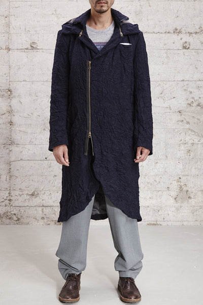 ssfw 154: long coat with a smoking tail and detachable hood made from a wool blend