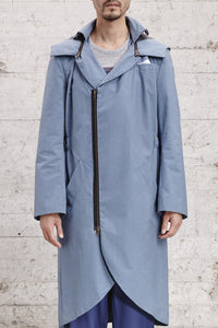 ssfw 154: water repellent smoking tail coat with detachable hood made from 100% waxed cotton