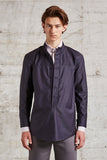 band collar shirt with double row buttons, ssfw 162
