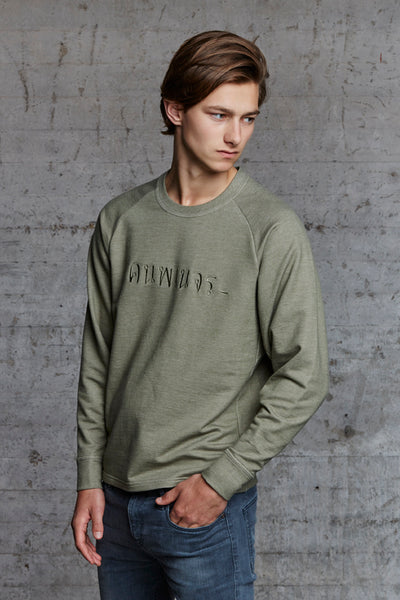 organic crewneck oversized sweater featuring raglan sleeves and ton sur ton embroidery, nwm 15.10