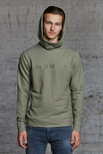 organic hooded sweater with No Where Man ton sur ton embroidered, nwm 15.11