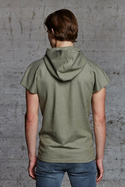 organic sleeveless hooded sweater with ton sur ton embroidery, nwm 15.9