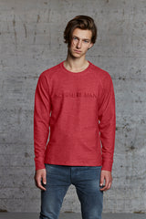 organic crewneck sweat shirt with No Where Man ton sur ton embroidered, nwm 15.7