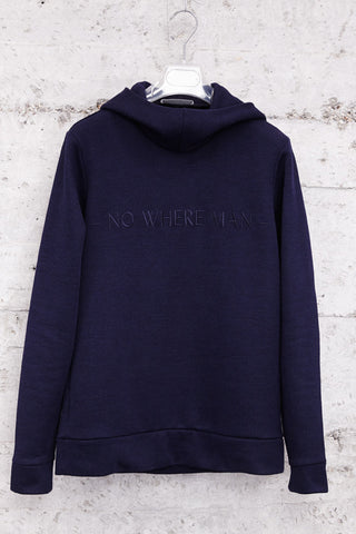 "nwm 15.2: ""no where man"" ton sur ton embroidered on a hoody made from 100% organic cotton"