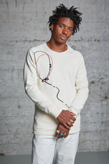 nwm 15.3 crewneck sweater with a double balloon embroidery made from 100% organic cotton