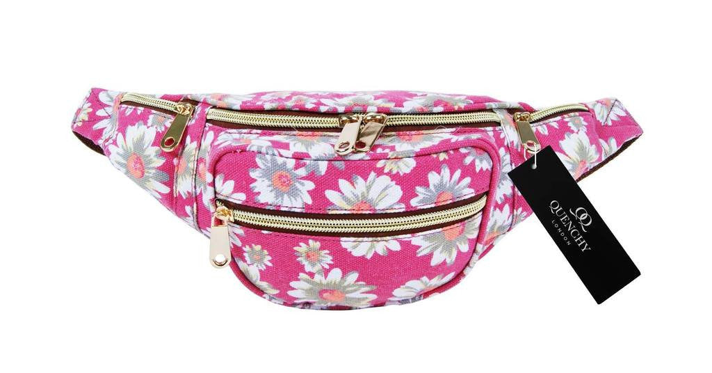 Festival Holiday Bumbag in Pink daisy floral Print Q4151K