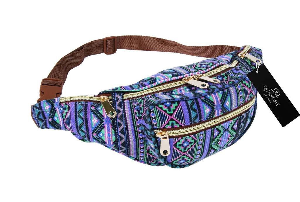 Festival Holiday Bumbag in purple tribal aztec Print Q4154Pu