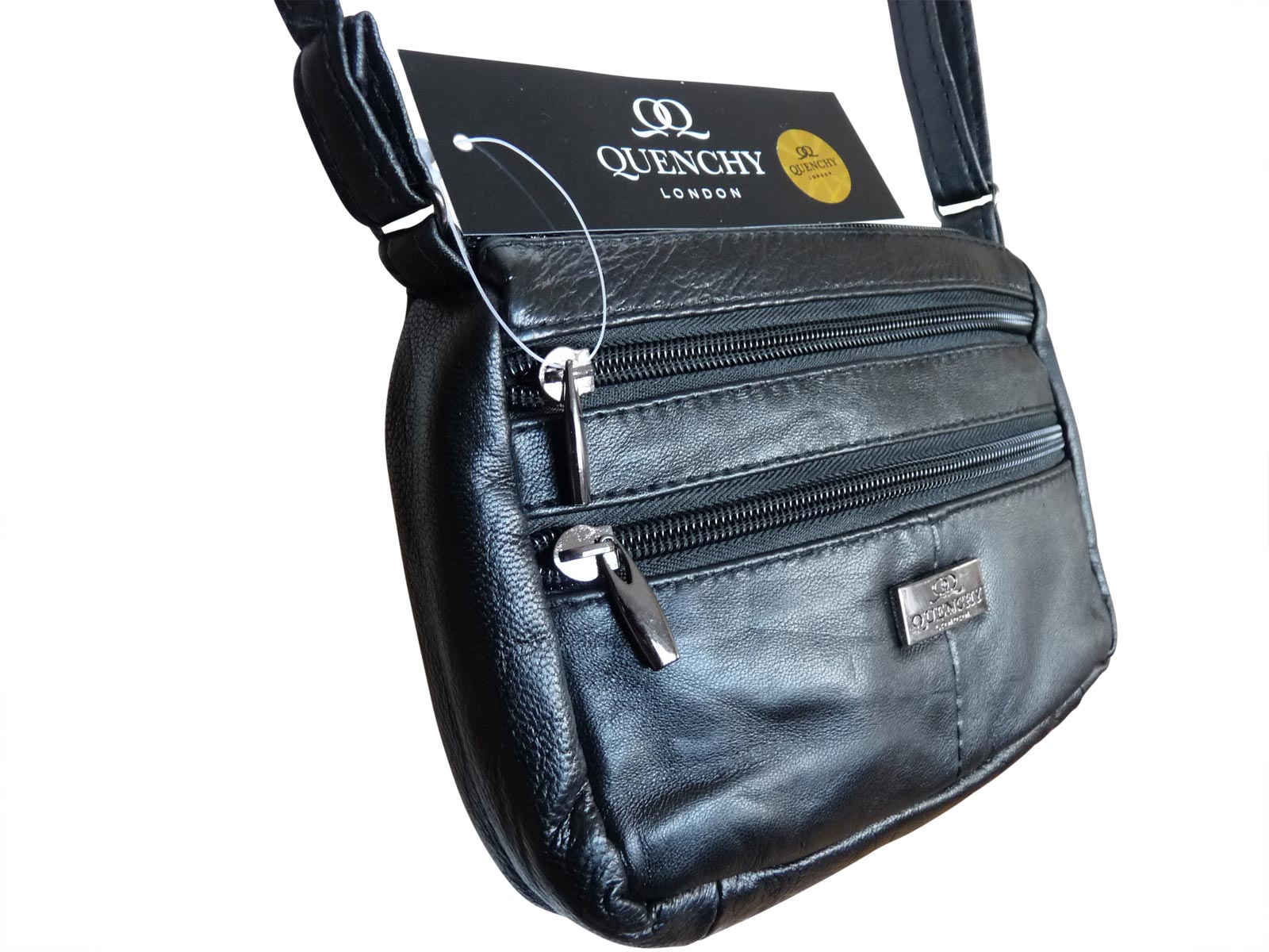 38a9b38dfc Small Leather Shoulder Bag Travel Neck Pouch QL945 - Quenchy London