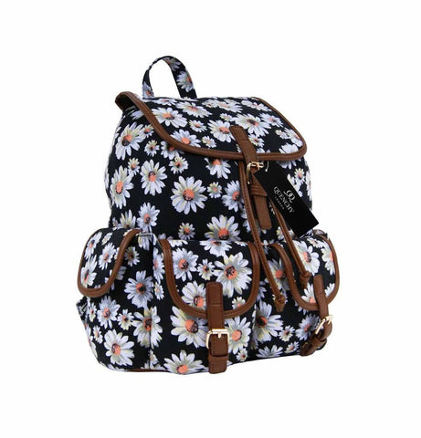 Daisy Floral Print Backpack Bag QL8151K front view