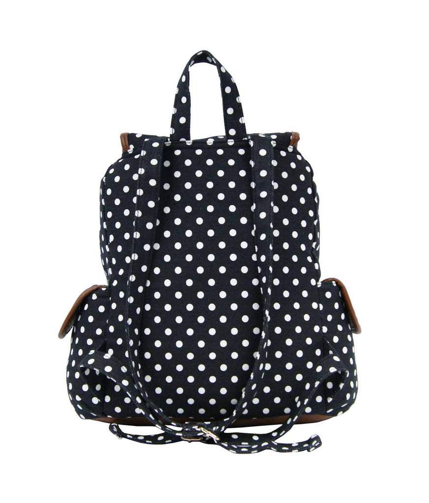 Polka Dot Print Backpacks Bags QL152K rear view