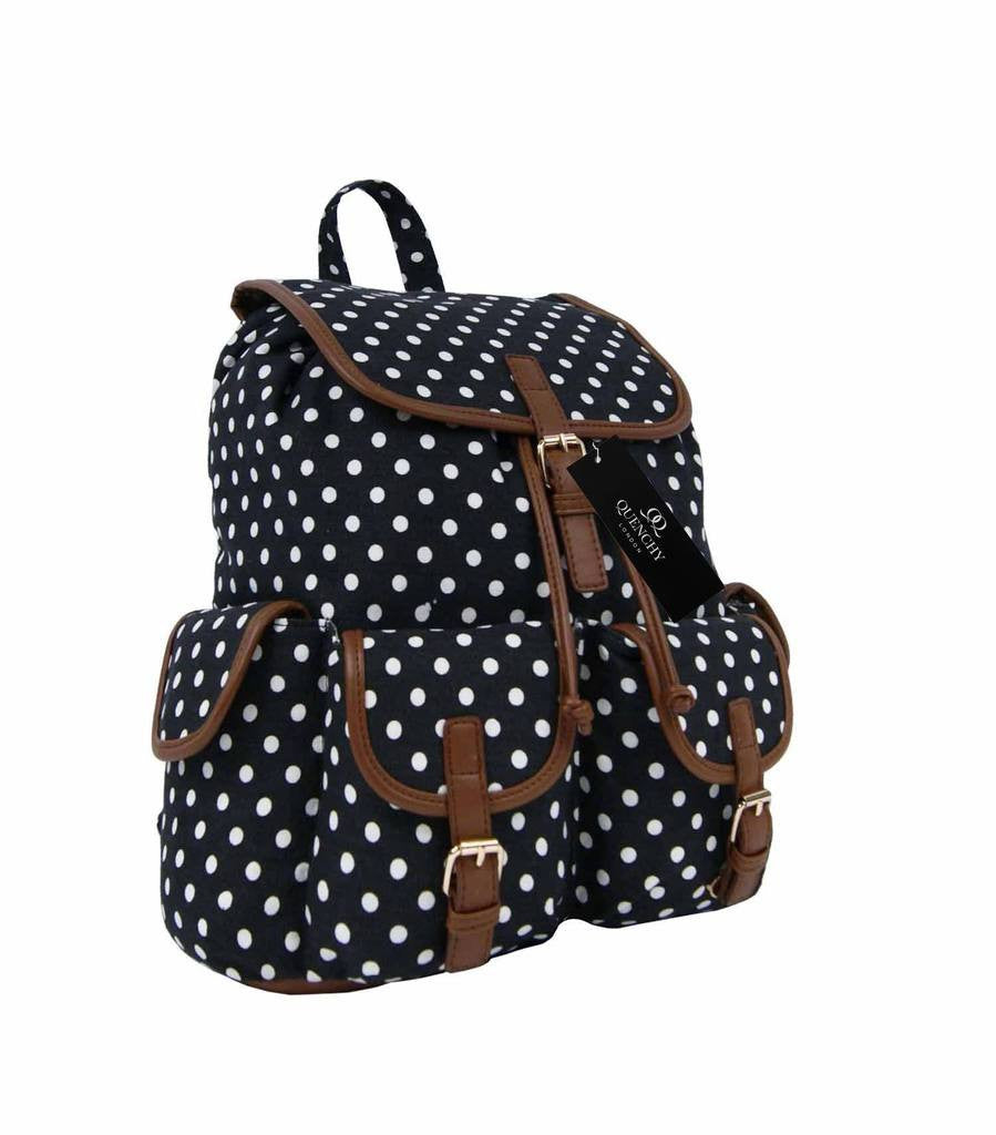 Canvas Backpack Rucksack Casual Daypack Polka Dot Print Backpacks Bag Bags QL152K