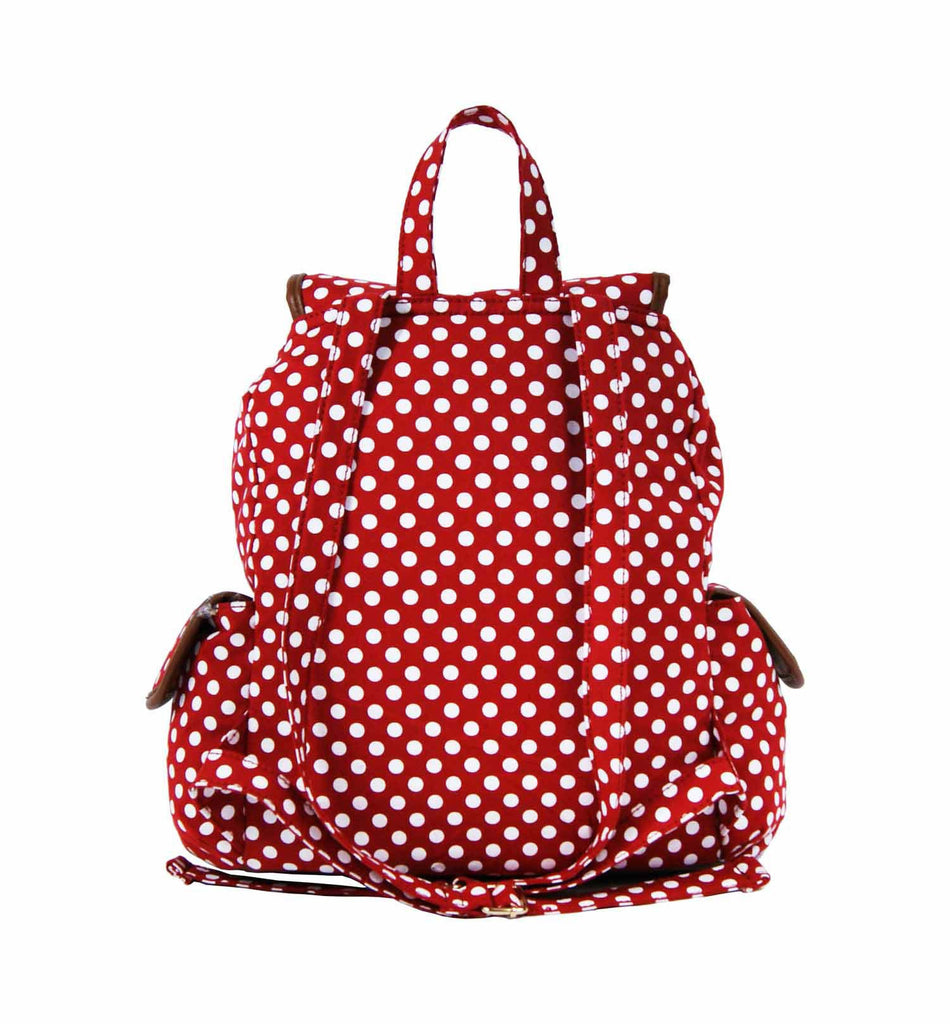 Polka Dot Print Backpacks Bags QL152R rear view