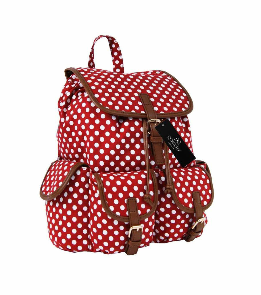 Canvas Backpack Rucksack Casual Daypack Polka Dot Print Backpacks Bag Bags QL152R