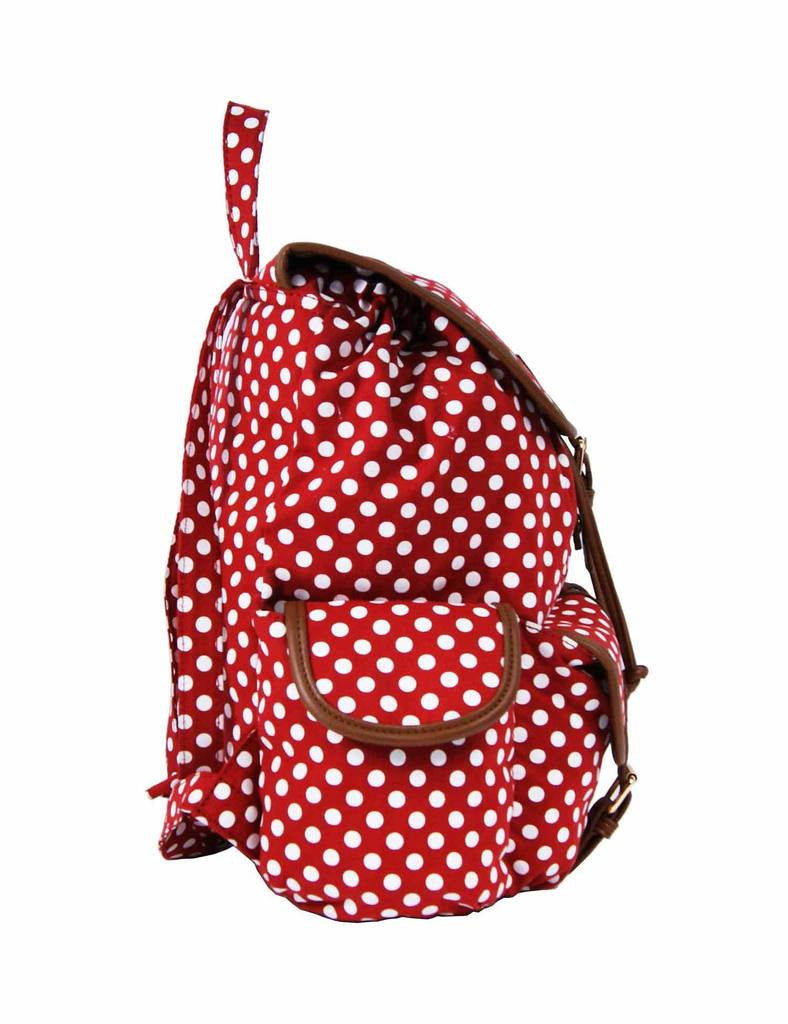 Polka Dot Print Backpacks Bags QL152R side view