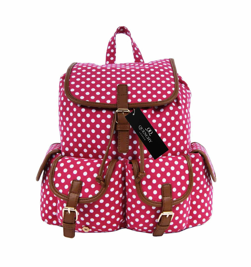 Polka Dot Print Backpacks Bags QL152P front view