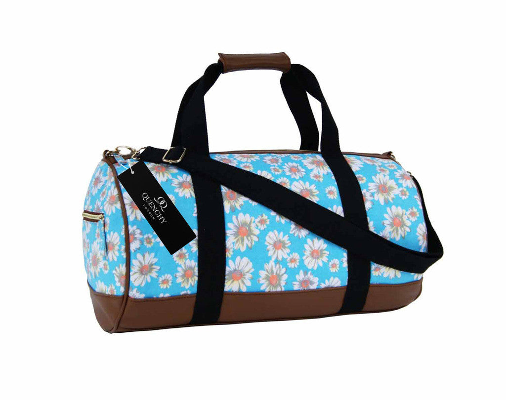 Canvas Travel Holdall Duffel Weekend Overnight Daisy Floral Print Bag QL651LB light blue front view